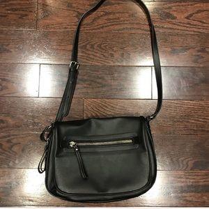 Hibou Black Faux Leather Crossbody Bag